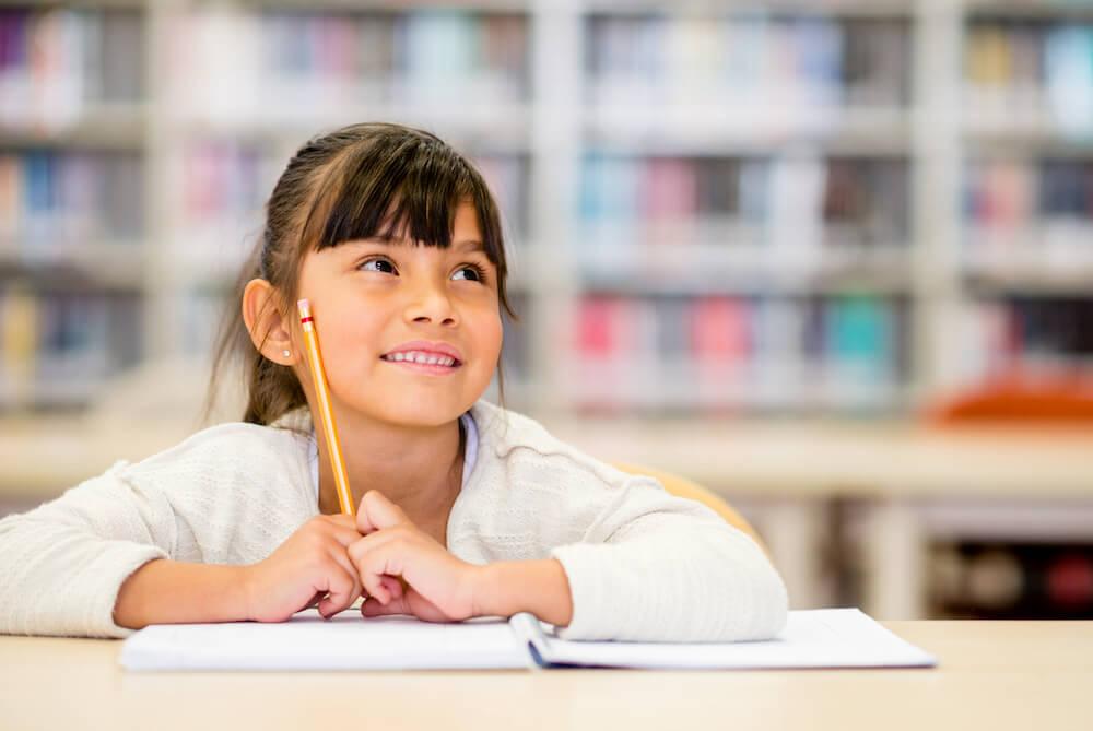 Female student thinking